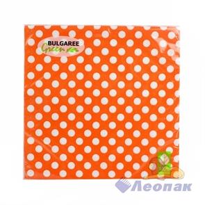 Салфетка  Горох на оранжевом (20шт/15уп) 33х33 3х-слойная /Булгари