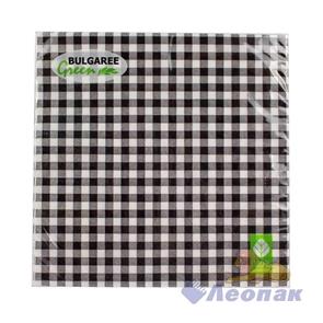 Салфетка  Клетка черная  (20шт/15уп) 33х33см  3х-слойная /Булгари