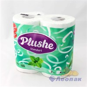 Бумага туалетная  PLUSHE Standart  Мята , аромат. 2-х сл.(4шт/12уп)