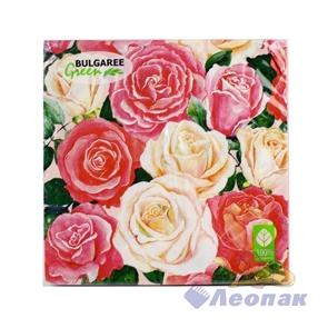 Салфетка  Розовый букет  (20шт/15уп) 33х33см  3х-слойная /Булгари
