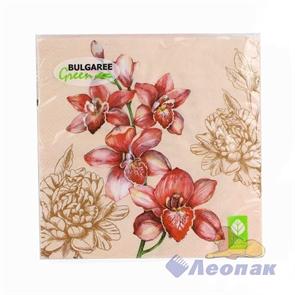 Салфетка  Орхидея  (20шт/15уп) 33х33см  3х-слойная /Булгари