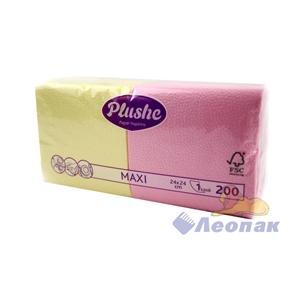 Салфетка розовая-желтая  PLUSHE Maxi  1-слойная (200шт/7уп) 24х24см