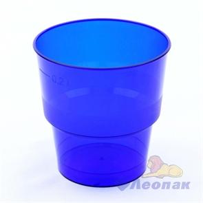 Стакан 200/220мл СИНИЙ (50/1000)  Кристалл арт 1004