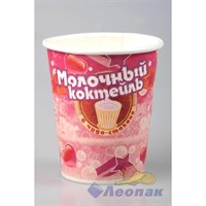 Стакан бумажный  ГН 250мл  Молочный коктейль с ар.клубники  с крышкой-ложкой (10/350)