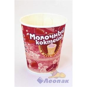 Стакан бумажный  ГН 250мл  Молочный коктейль с ар.банана  с крышкой-ложкой (10/350)