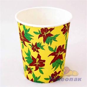 Стакан бумажный 200мл  Огненный цветок  (50шт/1уп) / ЭКО
