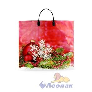 Пакет с пластик.ручками 38х35  Шары и снежинка  (100)