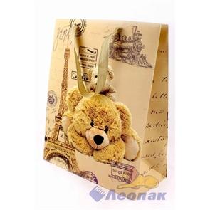 L424 Пакет бумажный Крафт 26*32*12  Медведи  (20шт/18уп)