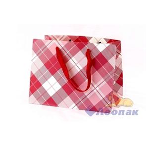 L012 Пакет бумажный Люкс Клетка 24*18*14 (12шт/40уп)