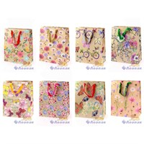 L426 Пакет бумажный Крафт 32*26*12  Цветы  (20шт)