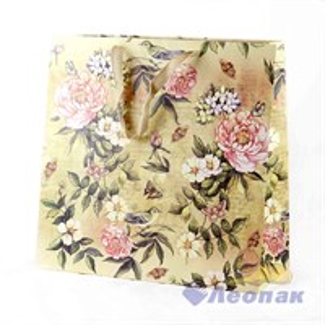 L448 Пакет бумажный Крафт 37*38*19  Цветы  (20шт/11уп)