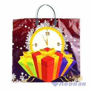 Пакет с пластик.ручками 38х35  Часы и подарок  (100)
