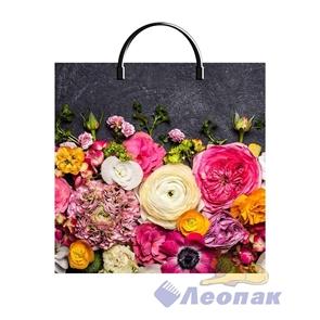 Пакет с пластик.ручками 36х37  Цветы на графите  (100) ТИКО