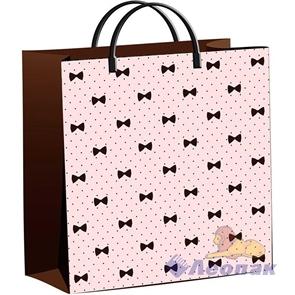 Пакет мягкий пластик с пластик.ручками 30х30   Бантики на розовом  (40) ТИКО