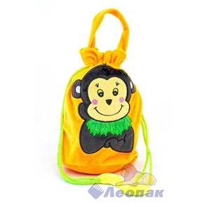 С116-3 Мешок ворсовый оранжевый  Мартышка с бананами  (250) 015SJC116-3
