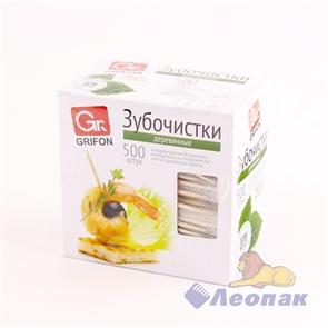 Зубочистки из дерева в инд.  п/э упаковке (500шт/30уп) GRIFON 400-512
