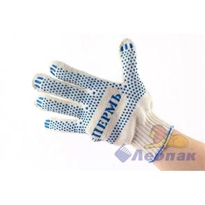 Перчатки х/б с напылением белые (10пар/25уп) 6 ниток 08100