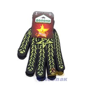Перчатки Х/Б  DOLONI  с желтым рисунком ПВХ Звезда 7 класс ЧЕРНАЯ (5пар/1уп/40уп) (562)