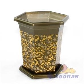 Горшок-кашпо  Очарование  1,0л с поддоном золотая осень (24шт)