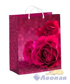 Пакет мягкий пластик с пластик.ручками 24х26   Малиновые розы  (40) ТИКО