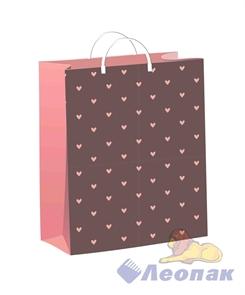 Пакет мягкий пластик с пластик.ручками 24х26   Сердечки на беж  (40) ТИКО