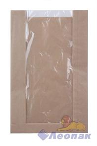 Пакет бумажный 250х400х100(160) с окном Крафт ламин. (1000)