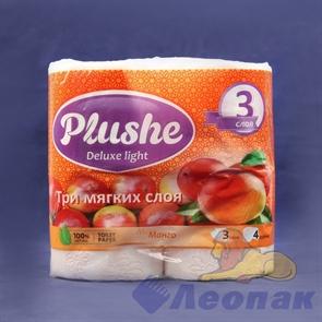 Бумага туалетная  PLUSHE Deluxe Light  Манго 3-х сл. (4шт/12уп)